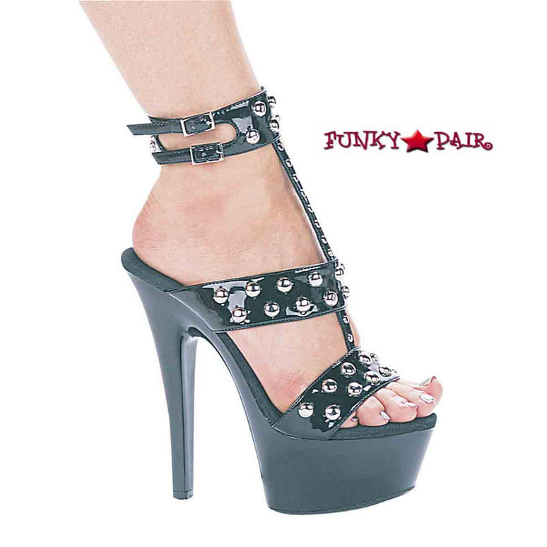 601-Queen, 6 Inch Stilettos Heels T-Straps triple bands with Studs Available size 5-12 Color Black Patent Made by ELLIE Shoes