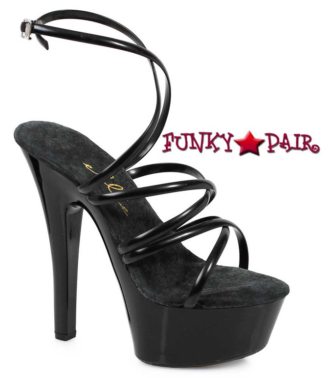 "601-Sophia 6"" Strappy Ankle Wrap Black Sandal by Ellie Shoes"