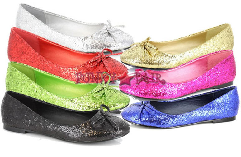 016-MILA-G, Glitter Flat with Bows Made By ELLIE Shoes