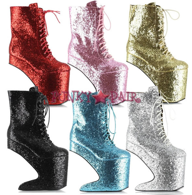 Bettie Page | BP579-CHABLIS, 5.5 Inch High Heel Glitter Ankle Boot