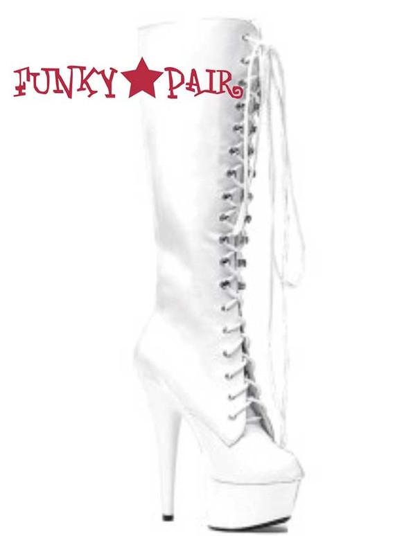 "Ellie Shoes | 609-Jungle 6"" Stripper Lace Boots White Patent"