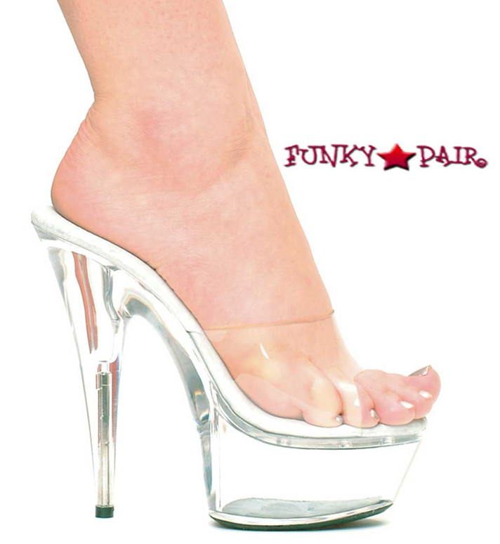 609-Vanity, 6 Inch High Heel with 1.75 Inch Platform Dancer Heel Clear Made by ELLIE Shoes