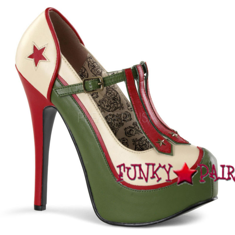 Bordello   Teeze-43, 5.75 Inch High Heel with 1.75 Inch Platform Pump with Military Theme