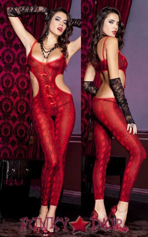ML-1122, Snake Print Footless BodyStocking