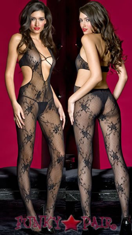 ML-1413, Deep V- lace BodyStocking