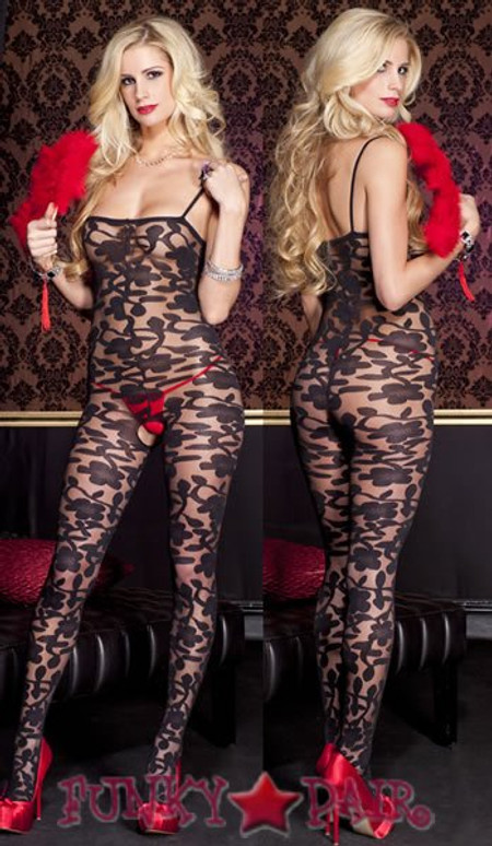 ML-1066, Sheer Floral BodyStocking