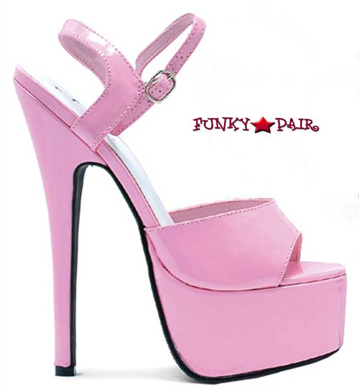 652-Juliet, 6.5 Inch Stiletto High Heel with 2.5 Inch Platform Shoes Made by ELLIE Shoes Pink