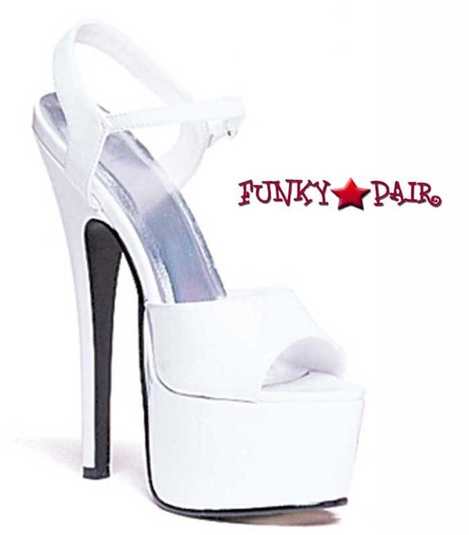 652-Juliet, 6.5 Inch Stiletto High Heel with 2.5 Inch Platform Shoes Made by ELLIE Shoes White