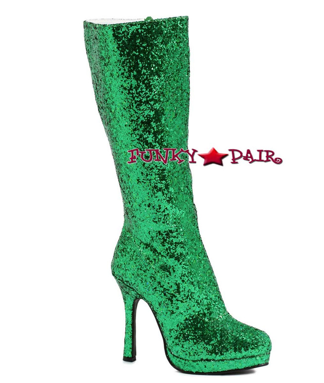glitter knee high boots Color Green 421-ZARA * 4 inch