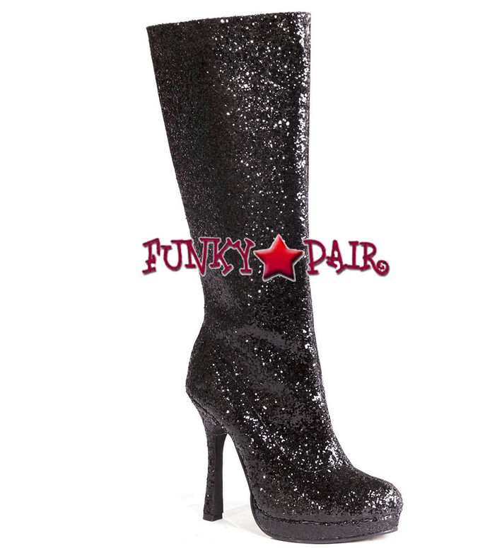 4 inch glitter knee high boots color Black 421-ZARA *