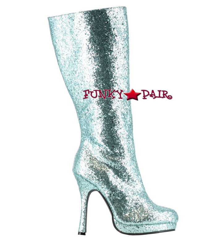 421-ZARA * 4 inch glitter knee high boots Color Turquoise