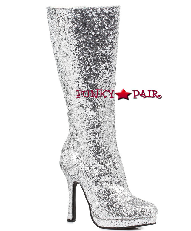 421-ZARA * 4 inch glitter knee high boots color Silver
