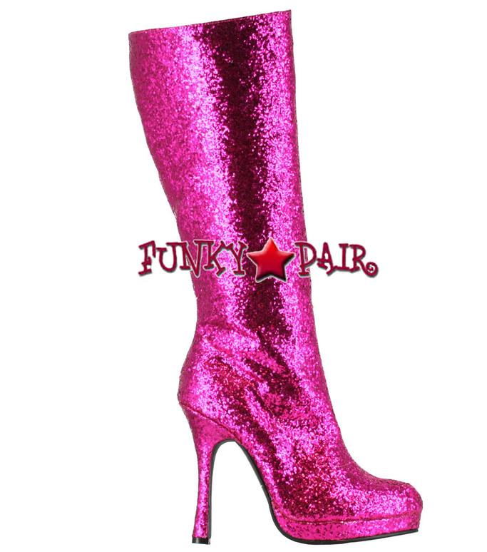 glitter knee high boots color Fuschia 421-ZARA * 4 inch