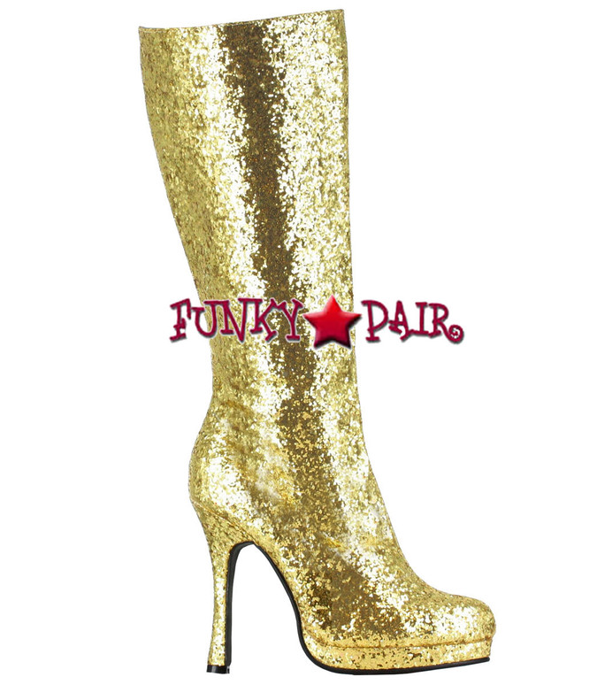 421-ZARA * 4 inch glitter knee high boots Color Gold