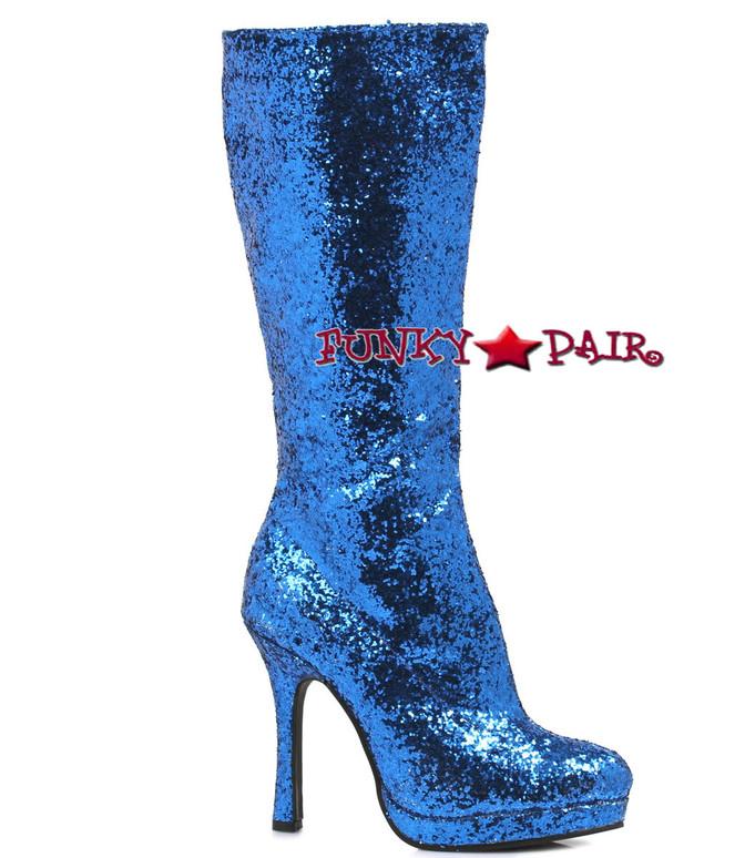 421-ZARA * 4 inch glitter knee high boots color blue