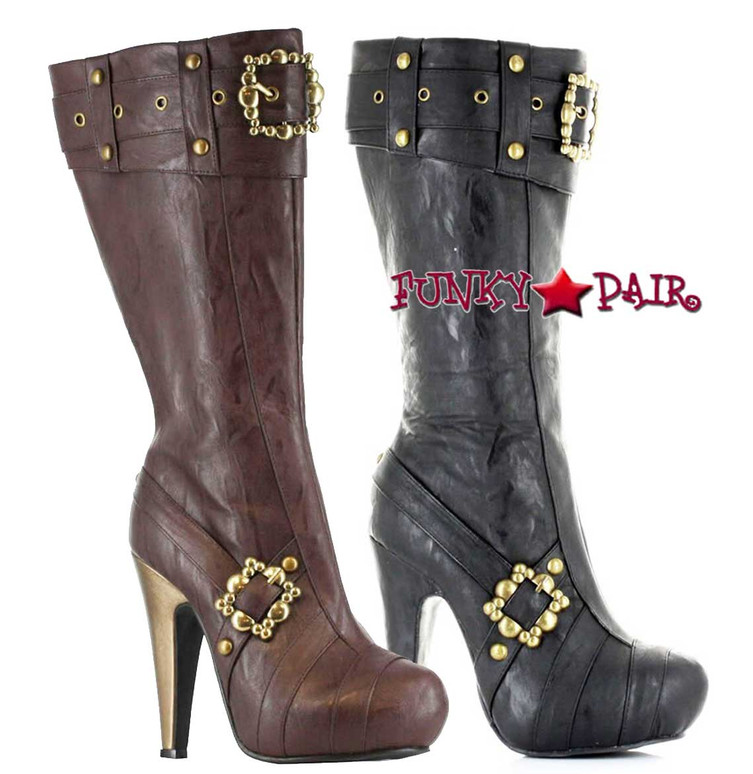 "EllieShoes | 426-AUBREY, 4"" Steampunk Knee High Boots With Buckles"