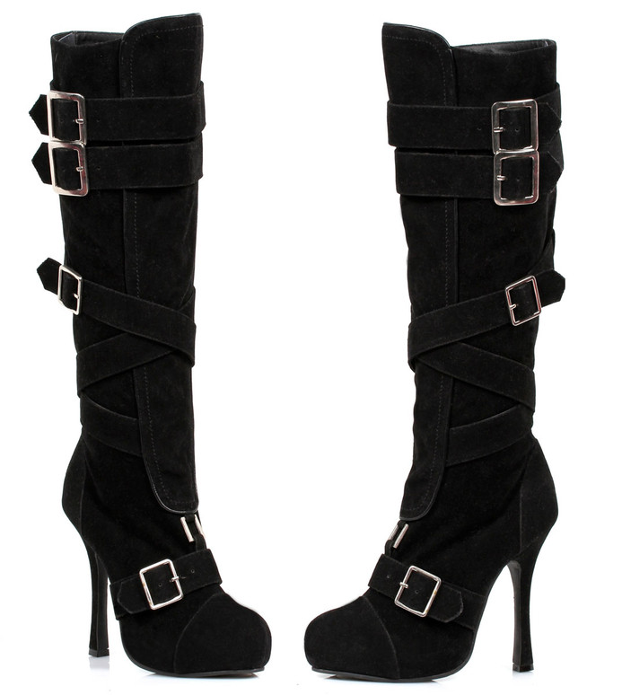 420-VIXEN * 4 inch microfiber knee high boot with buckles