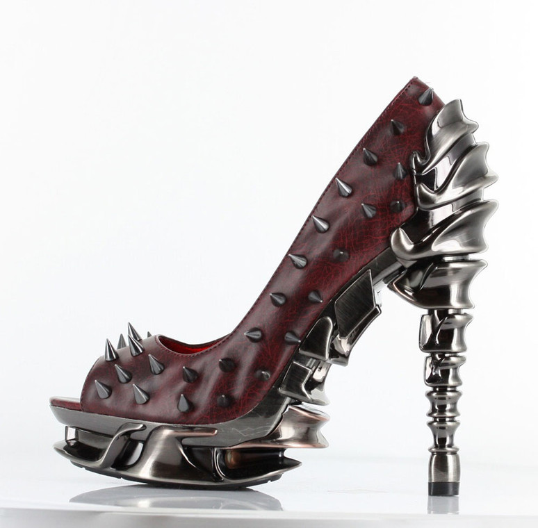 High Heel Pump with Metallic Spikes | Hades TALON Color Burgundy