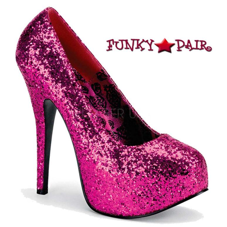 Wide Width Hot Pink Glitter Platform Pump Size 9-16 Pink Label | TEEZE-06GW,
