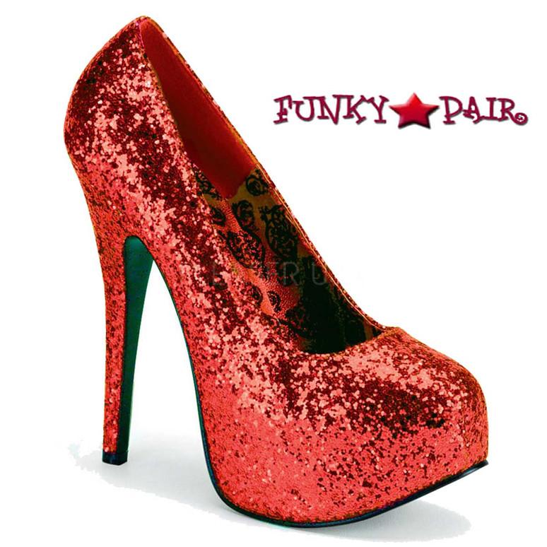 Wide Width Red Glitter Platform Pump Size 9-16  Pink Label | TEEZE-06GW,