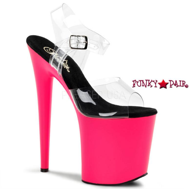 Flamingo-808UV, 8 Inch Ankle Strap UV Bottom Pink
