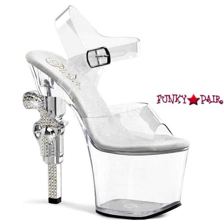 Revolver-708, 7 inch high heel with 3.25 inch platform Clear Ankle Strap Sandal with Rhinestones Gun Heel
