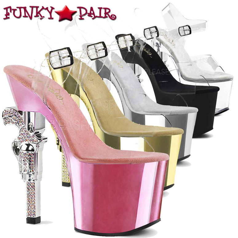 Rhinestones Gun Heel Pleaser Shoes | Revolver-708 FunkyPair.com