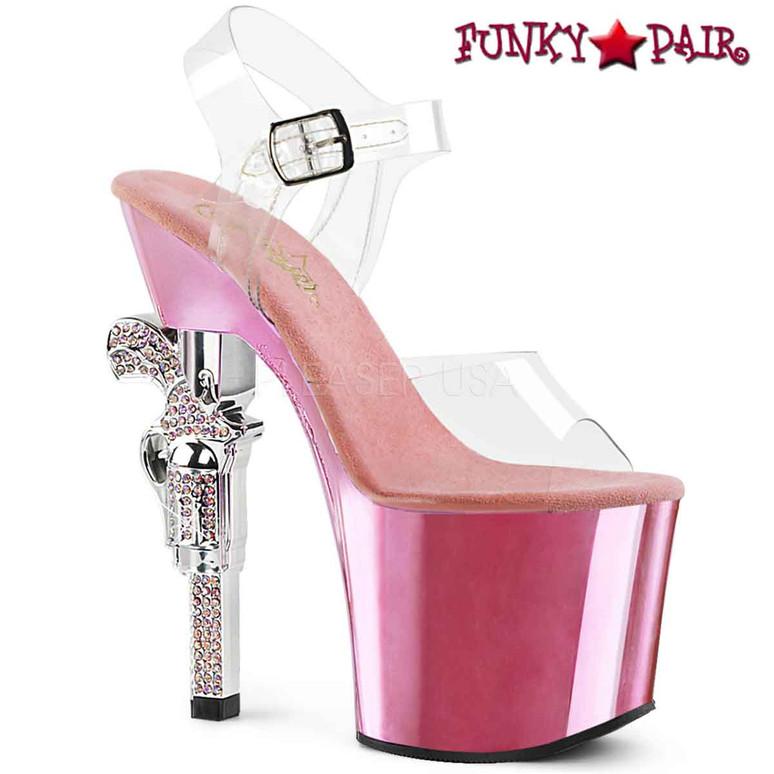 Pleaser Shoes | Revolver-708, Clear Rhinestones Gun Heel color baby pink