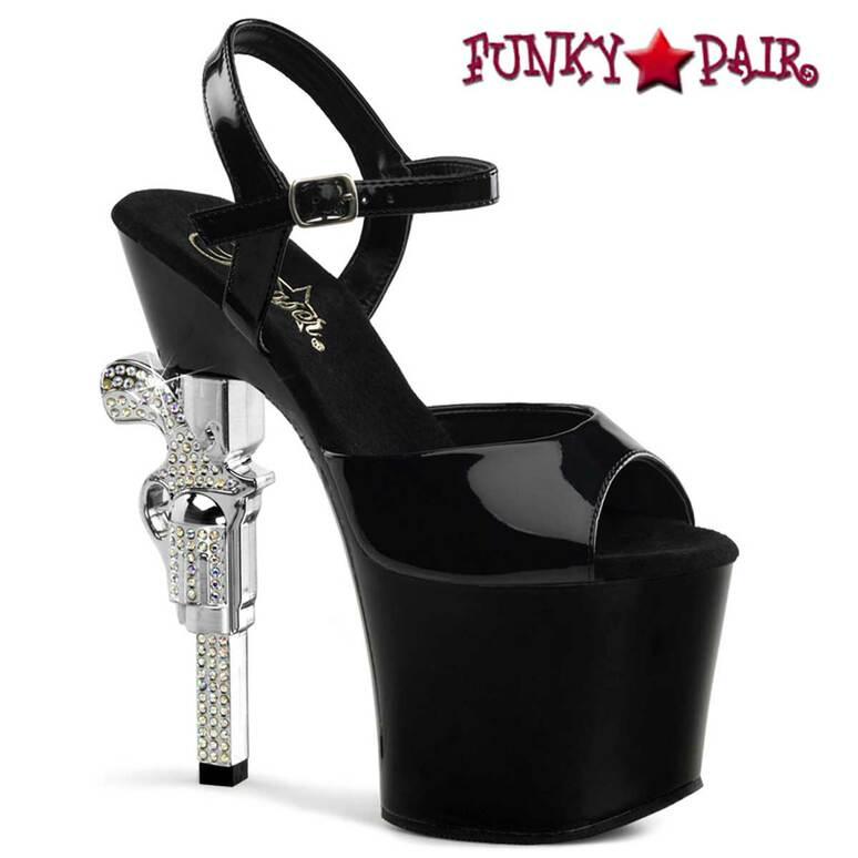 Black Ankle Strap Sandal with Rhinestones Gun Heel Pleaser | Revolver-709,