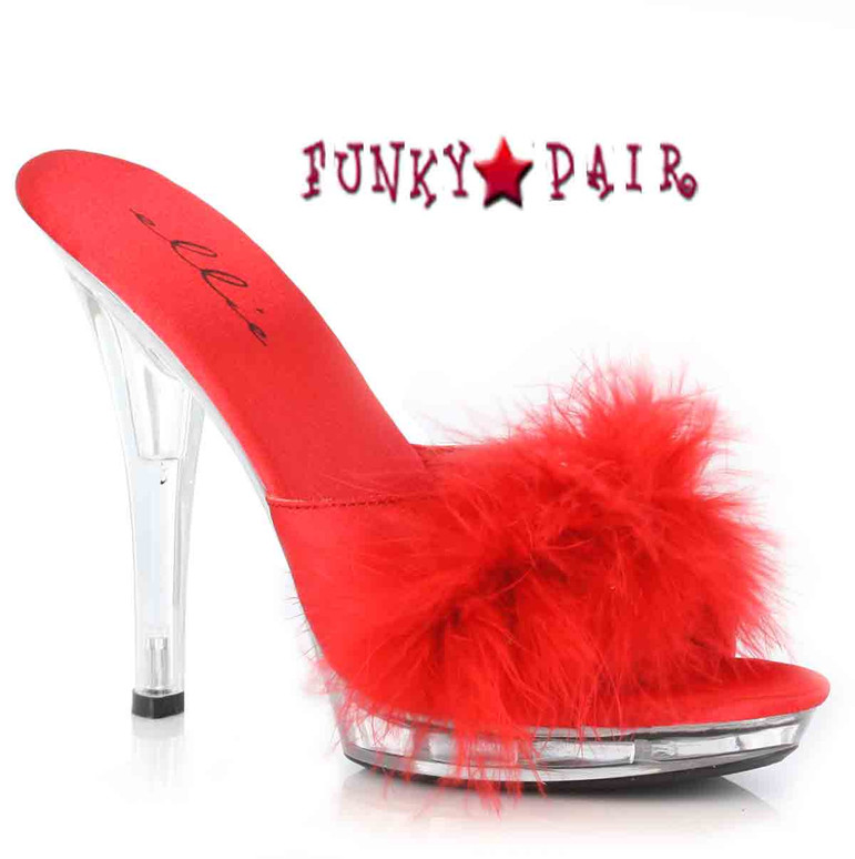 Red Platform Marabou Slipper Ellie Shoes | Sasha