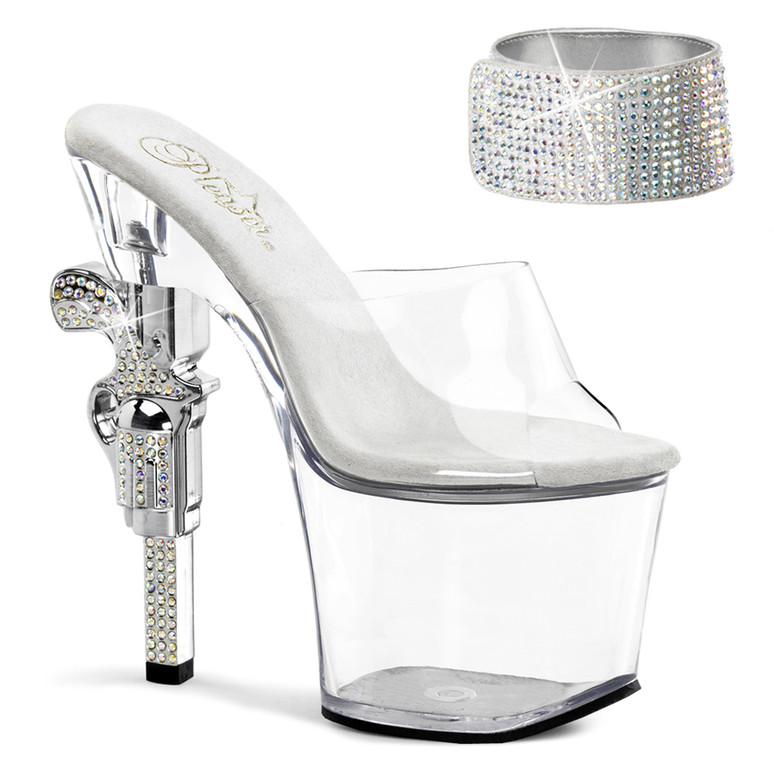 Stripper Shoes | Revolver-712, 7 inch high heel with 3.25 inch platform Rhinestones Cuff Strap Sandal with Rhinestones Gun Heel