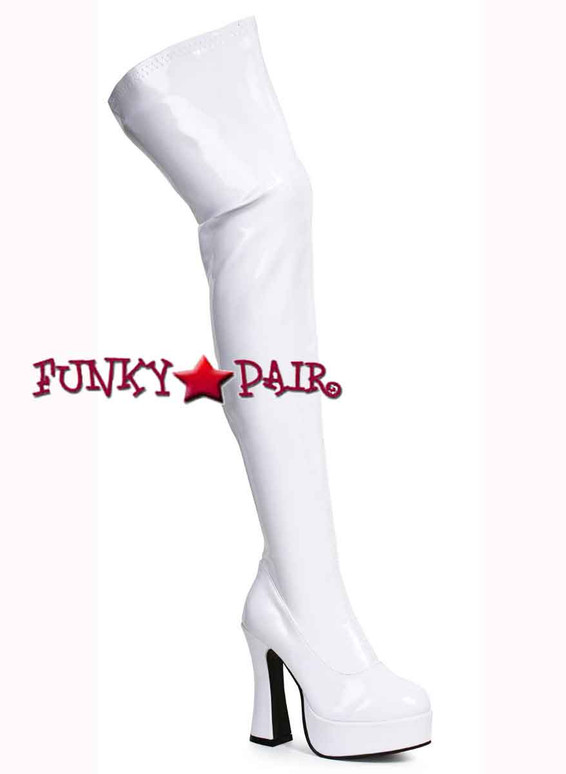 "Ellie Shoes | Thrill 5"" Chunky Heel Thigh high boots White Patent"