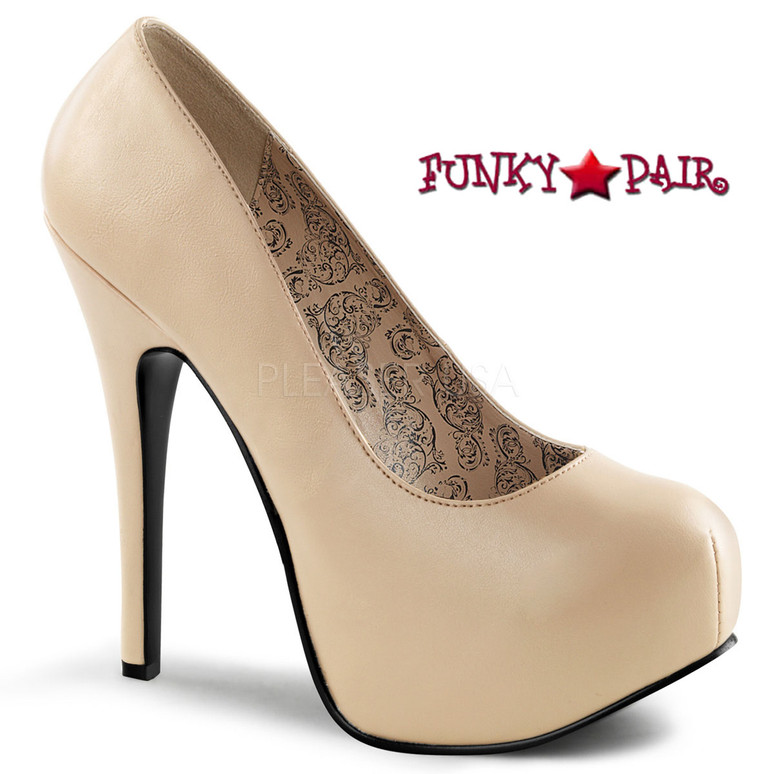 Pink Label | Teeze-06W, Wide Width Platform Pump Size 9-16 color cream faux leather