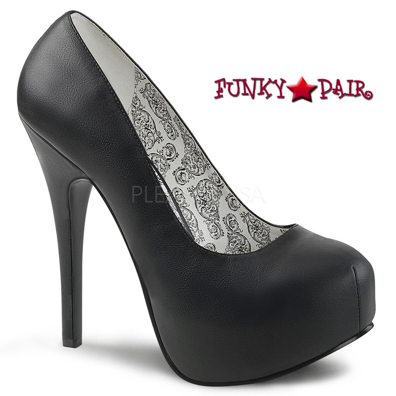 Wide Width Platform Pump Size 9-16 color black faux leather Pink Label | Teeze-06W,