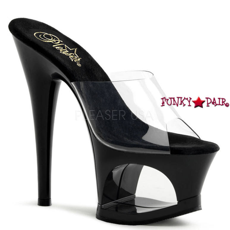 Moon-701, Platform Slide with Cut Out black Stripper shoes