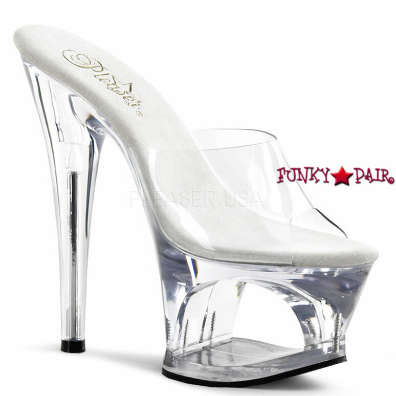 Moon-701, Platform Slide with Cut Out Clear Pleaser shoes
