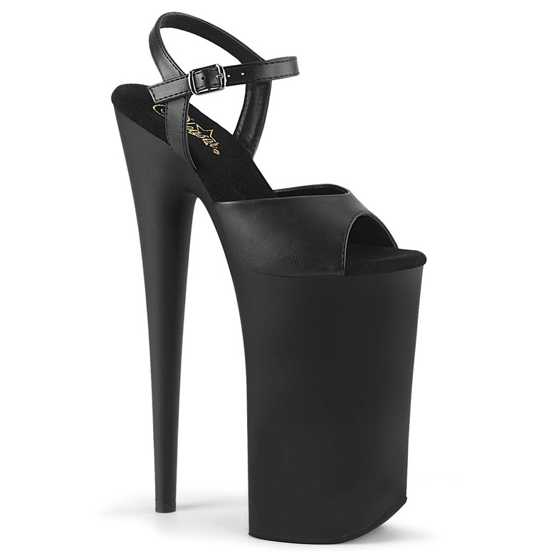 Beyond-009, 10 Inch Black Highest Dancer Shoes by Pleaser Black Faux Leather