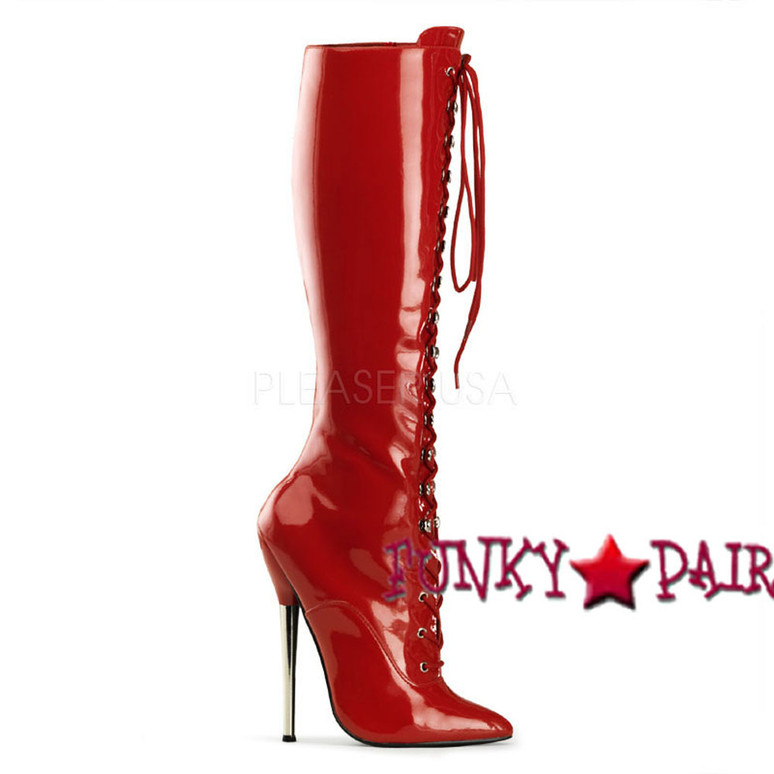 Red High Heel Lace Up Knee High Boots