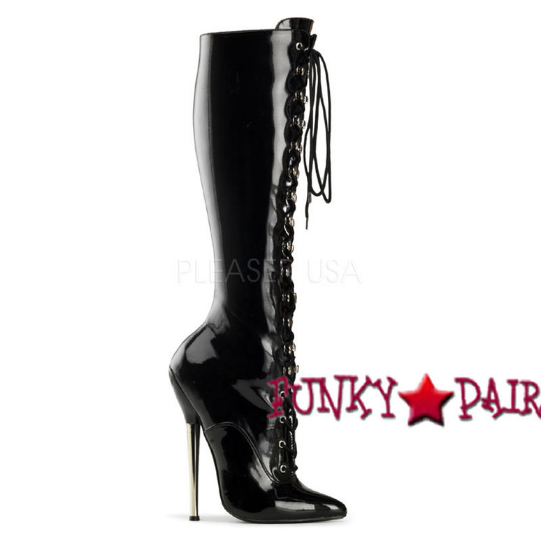 Black High Heel Lace Up Knee High Boots