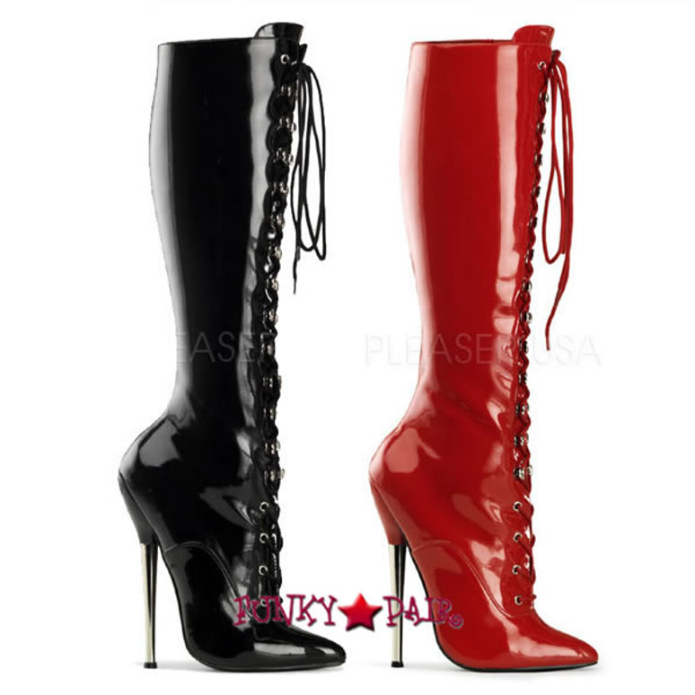 Dagger-2020, 6.25 Inch High Heel Lace Up Knee High Boots * Made by PLEASER Shoes