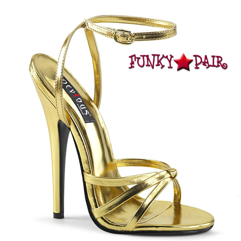 "Domina-108, Gold 6"" Stiletto Heel Wrap Around Knotted Strap Sandal"