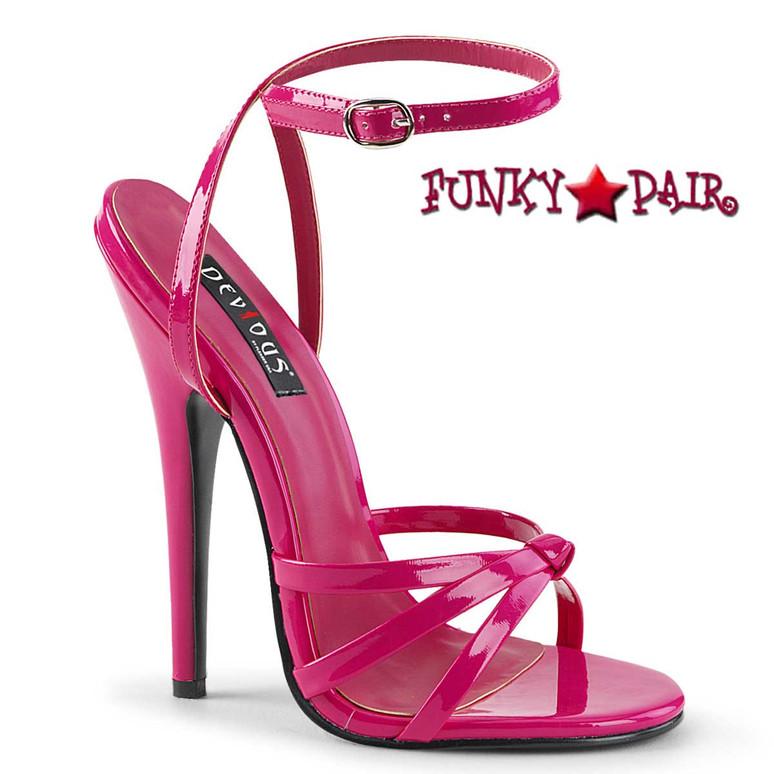 "Domina-108, 6"" Stiletto Hot Pink Heel Wrap Around Knotted Strap Sandal"