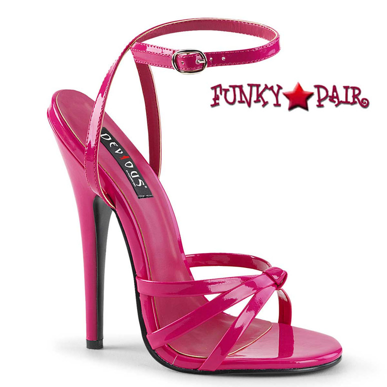 "Domina-108, 6"" Stiletto Hot Pink Heel Wrap Around Knotted Strap Sandal"