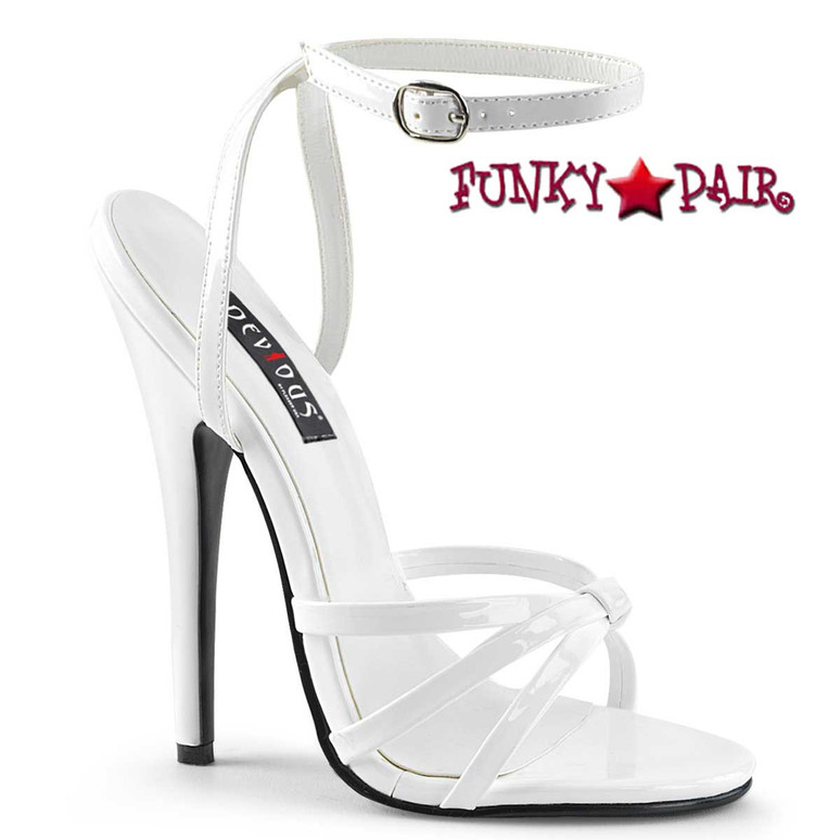 "Domina-108, 6"" White Stiletto Heel Wrap Around Knotted Strap Sandal"