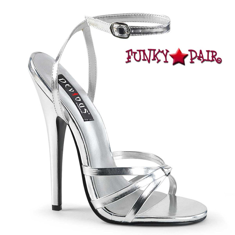 "Domina-108, 6"" Silver Stiletto Heel Wrap Around Knotted Strap Sandal"