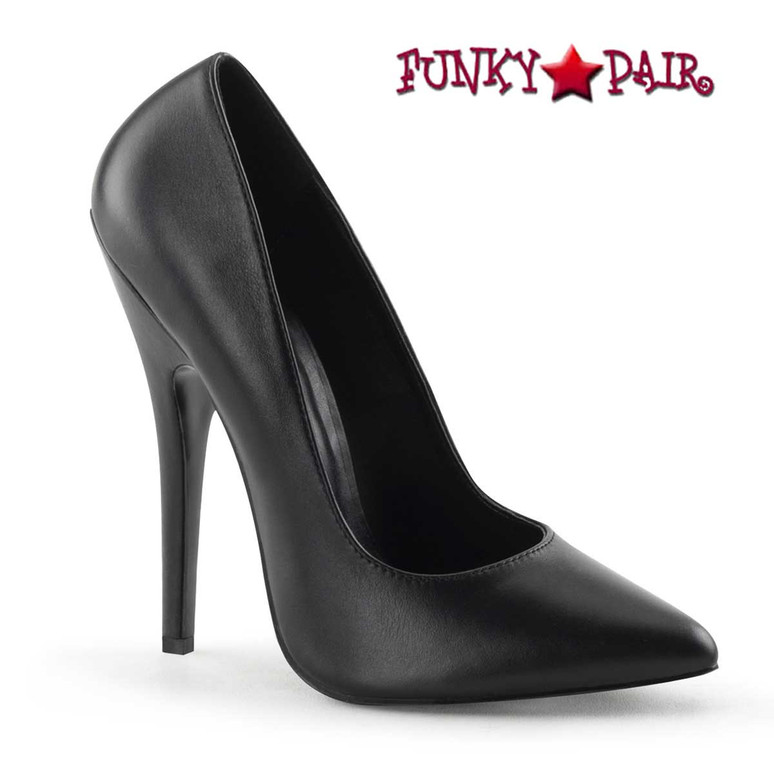 "6"" Black Leather Fetish Pump Domina-420 by Pleaser"