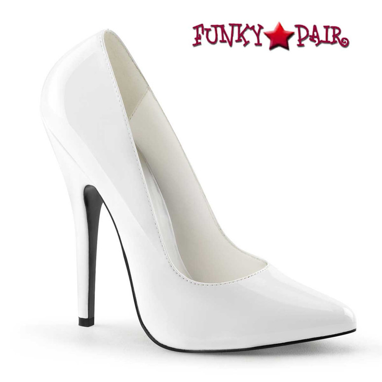 "Domina-420, 6"" White Fetish Pump by Pleaser"
