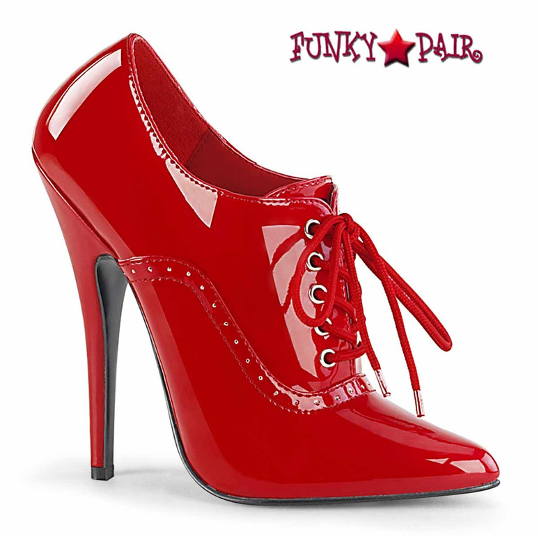 Domina-460 Red Fetish Oxford Pump by Devious