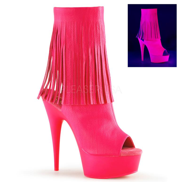 Hot Pink Delight-1019, Open Toe Fringe Boot   Pleaser