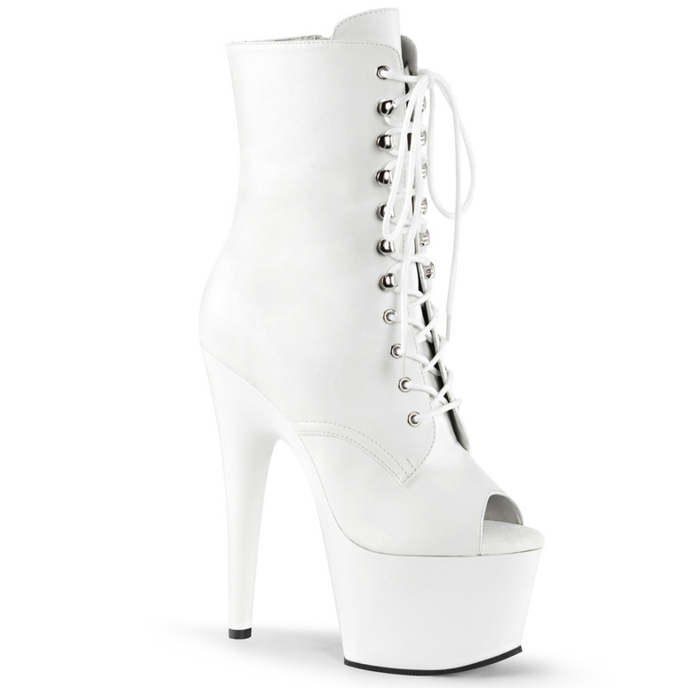 Adore-1021, 7 Inch White lace-up Ankle Boots by Pleaser